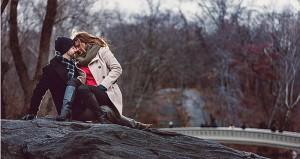 влюбленная пара зимой